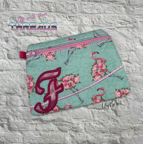 DIGITAL DOWNLOAD Letter F Clutch Applique Zipper Bag Lined and Unlined Alphabet