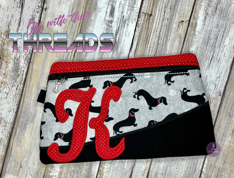 DIGITAL DOWNLOAD Letter K Clutch Applique Zipper Bag Lined and Unlined Alphabet