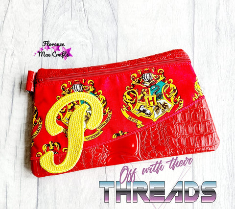 DIGITAL DOWNLOAD Letter P Clutch Applique Zipper Bag Lined and Unlined Alphabet