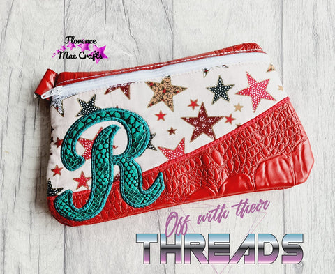 DIGITAL DOWNLOAD Letter R Clutch Applique Zipper Bag Lined and Unlined Alphabet