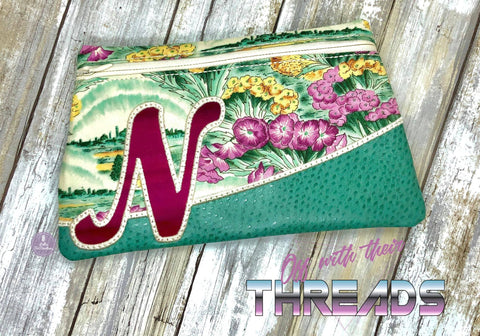 DIGITAL DOWNLOAD Letter N Clutch Applique Zipper Bag Lined and Unlined Alphabet
