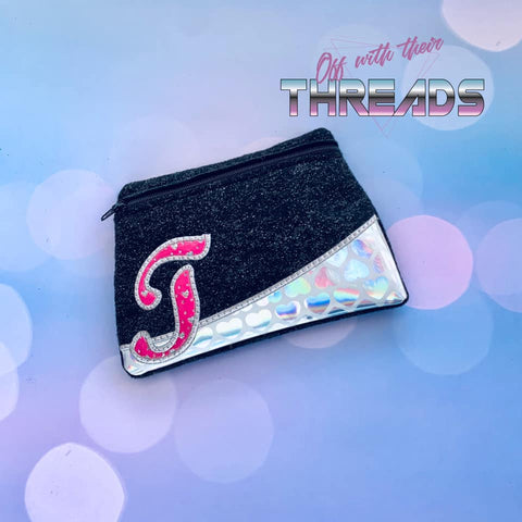DIGITAL DOWNLOAD Letter T Clutch Applique Zipper Bag Lined and Unlined Alphabet
