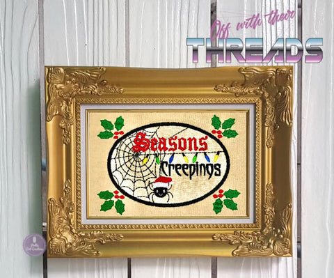 DIGITAL DOWNLOAD Season's Creepings Applique 3 SIZES INCLUDED