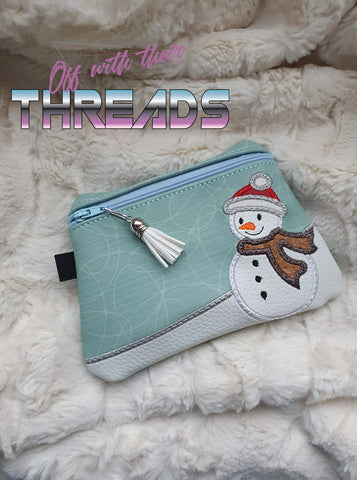 DIGITAL DOWNLOAD Snowman Clutch Applique Zipper Bag Lined and Unlined