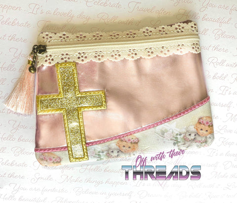 DIGITAL DOWNLOAD Cross Clutch Applique Zipper Bag Lined and Unlined