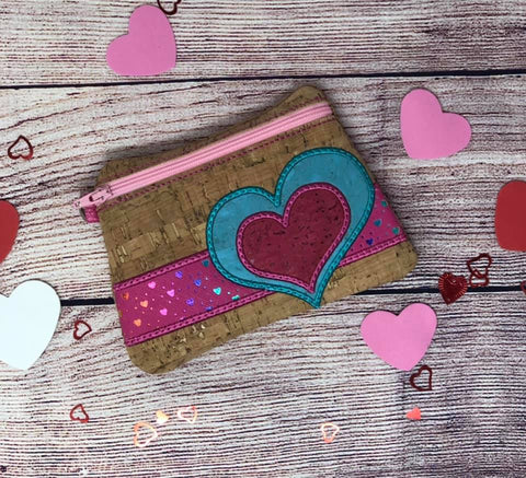 DIGITAL DOWNLOAD Valentine Heart Clutch Applique Zipper Bag Lined and Unlined