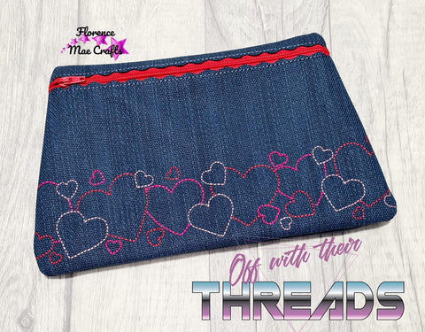 DIGITAL DOWNLOAD Heart Border Clutch Zipper Bag Lined and Unlined