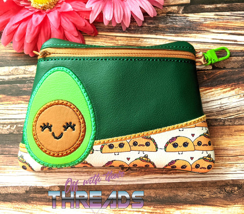 DIGITAL DOWNLOAD Avocado Clutch Applique Zipper Bag Lined and Unlined