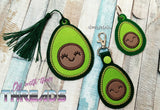 DIGITAL DOWNLOAD Avocado Applique Bundle Snap Tab Charm Bookmark Ornament Gift Tag Eyelet