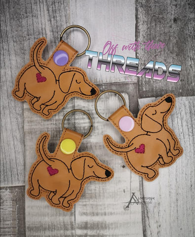 DIGITAL DOWNLOAD Dachsund Doxie Heart Bum Snap Tab Key Chain