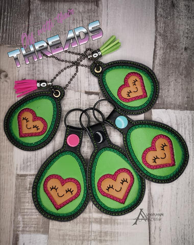 DIGITAL DOWNLOAD Heart Avocado Applique Bundle Snap Tab Charm Bookmark Ornament Gift Tag Eyelet