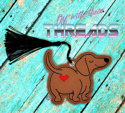 DIGITAL DOWNLOAD Dachsund Doxie Heart Bum Bookmark Ornament Gift Tag