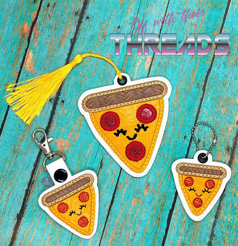 DIGITAL DOWNLOAD Pizza Applique Bundle Snap Tab Charm Bookmark Ornament Gift Tag Eyelet