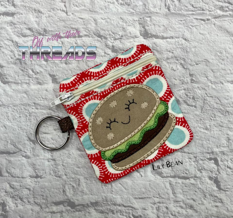 DIGITAL DOWNLOAD 4x4 Hamburger Applique Zipper Bag