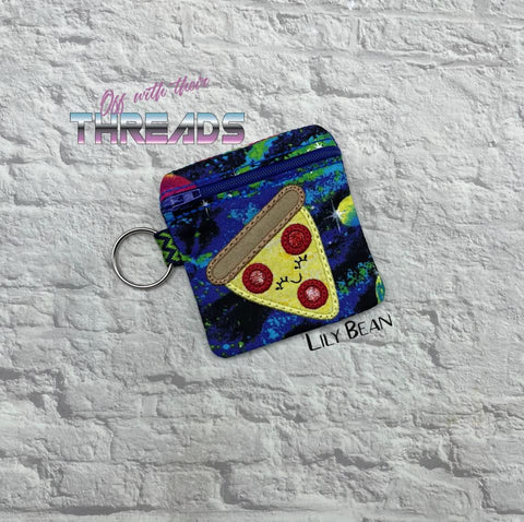 DIGITAL DOWNLOAD 4x4 Pizza Applique Zipper Bag