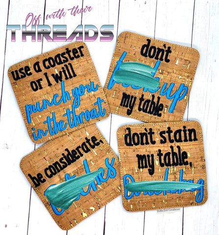 DIGITAL DOWNLOAD 4x4 Adult Humor Coaster Set