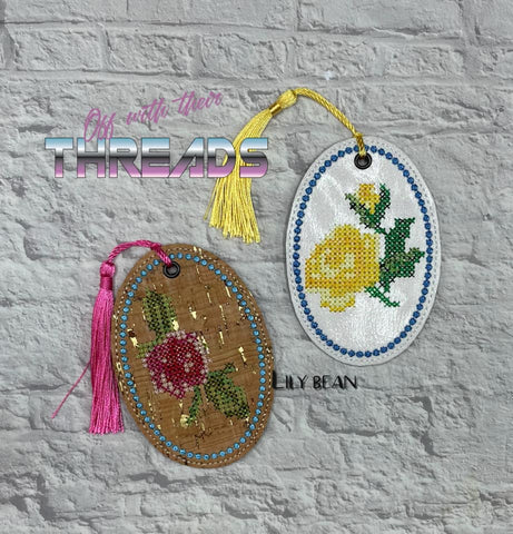 DIGITAL DOWNLOAD Cross Stitch Rose Bookmark Gift Tag Ornament Set 2 Designs included