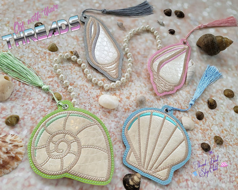 DIGITAL DOWNLOAD Applique Sea Shell Set Bookmark Ornament Gift Tag 4 DESIGNS INCLUDED