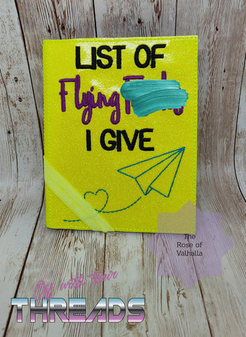 DIGITAL DOWNLOAD List of Flying F's A6 Notebook Holder Cover