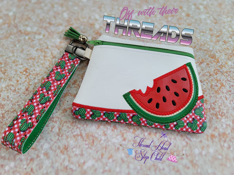 DIGITAL DOWNLOAD Applique Watermelon Clutch Zipper Bag Lined and Unlined