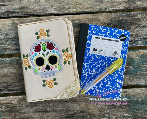 DIGITAL DOWNLOAD Applique Sugar Skull Mini Comp Notebook Holder Cover