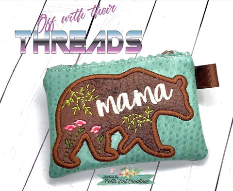 DIGITAL DOWNLOAD Applique Mama Bear Top Zip Wallet Set 2 SIZES INCLUDED UNLINED