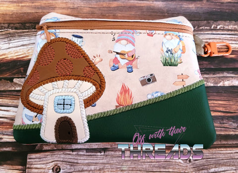 DIGITAL DOWNLOAD Applique Toadstool Clutch Zipper Bag Lined and Unlined