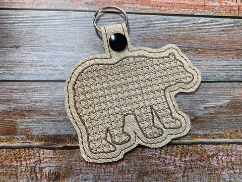 DIGITAL DOWNLOAD Applique Woodland Bear Snap Tab