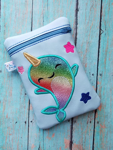 DIGITAL DOWNLOAD 5x7 Narwhal Zipper Bag