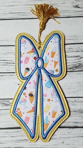 DIGITAL DOWNLOAD  4x4 AND 5x7 Applique Bow Bookmark 3 Sizes