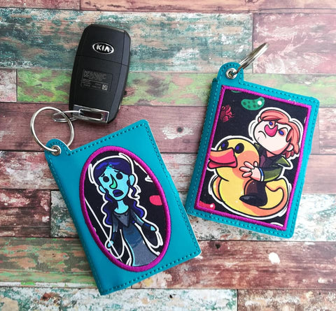 DIGITAL DOWNLOAD 5x7 ITH Applique Snap Tab Wallet Key Chain Set