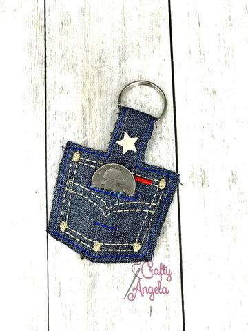 4x4 DIGITAL DOWNLOAD Denim Pocket Quarter Keeper Snap Tab