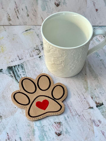 DIGITAL DOWNLOAD Heart Paw Coaster 4x4 ITH Embroidery Design