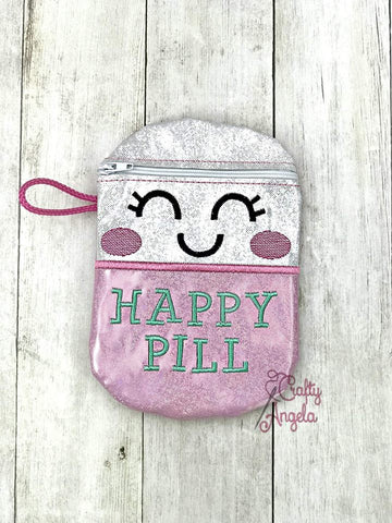 DIGITAL DOWNLOAD 5x7 Happy Pill Bag ITH Lined and Unlined Options