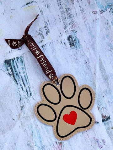 4x4 DIGITAL DOWNLOAD Heart Paw Ornament