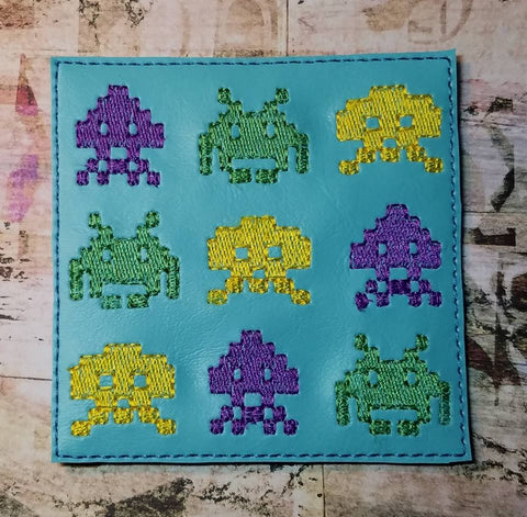 DIGITAL DOWNLOAD Space Invaders Coaster 4x4 ITH Embroidery Design