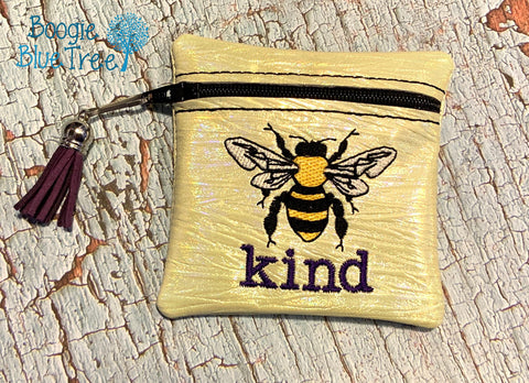 DIGITAL DOWNLOAD 4x4 Bee Kind ITH Zippered Bag Lined and Unlined
