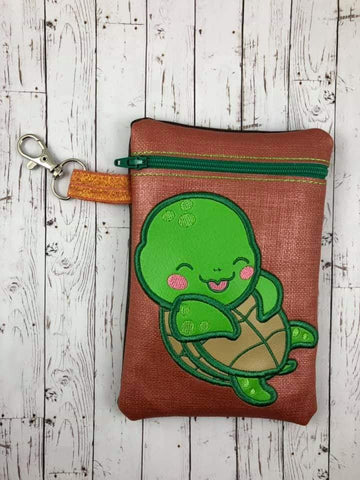 DIGITAL DOWNLOAD ITH Applique Sea Turtle Zipper Bag Lined and Unlined