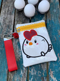 DIGITAL DOWNLOAD ITH Applique Chicken Doodle Zipper Bag Lined and Unlined