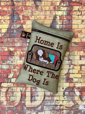 DIGITAL DOWNLOAD ITH Applique Home Is Where The Dog Is Zipper Bag Lined and Unlined