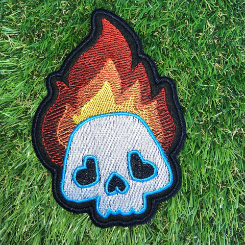 DIGITAL DOWNLOAD Skull In Flames Patch 3 Sizes Included