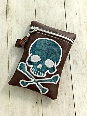 DIGITAL DOWNLOAD 5x7 6x10 7x12 8x12 Bundle ITH Applique Skull Zipper Bag