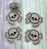 DIGITAL DOWNLOAD Skull and Crossbones Coaster 4x4 ITH