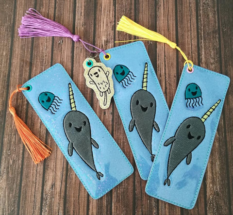 5x7 DIGITAL DOWNLOAD Narwhal and Jelly Bookmark Otter Tag Along Charm Included