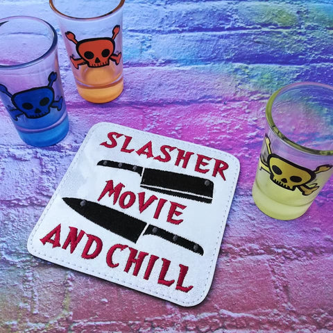 DIGITAL DOWNLOAD Slasher Movie and Chill Coaster 4x4 ITH Embroidery Design