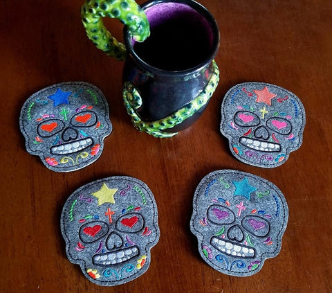 DIGITAL DOWNLOAD 4x4 Sugar Skull Coaster Set 2 Versions