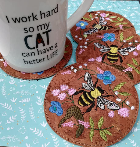 DIGITAL DOWNLOAD 4x4 Honey Bee and Wildflowers Coaster
