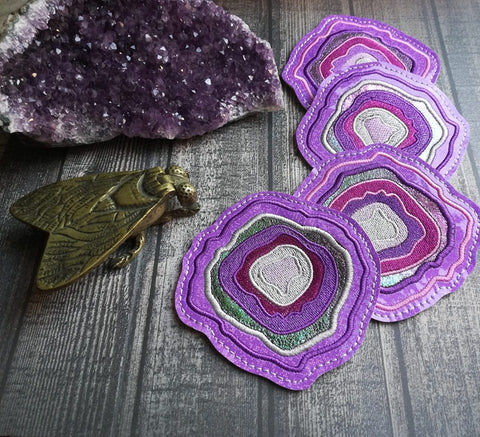 DIGITAL DOWNLOAD 4x4 Applique Geode Coaster