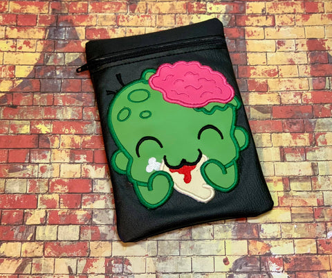 DIGITAL DOWNLOAD ITH Zombie Yum Yum Time Applique Zipper Bag Lined and Unlined