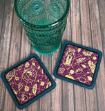 DIGITAL DOWNLOAD 4x4 Applique Quilted Square Coaster